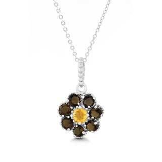 La Preciosa Sterling Silver Gemstone Flower Pendant Necklace