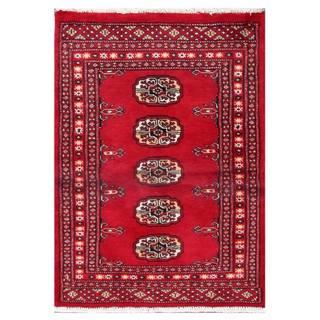 Herat Oriental Pakistani Hand-knotted Tribal Bokhara Red/ Black Wool Rug (2'1 x 2'10)