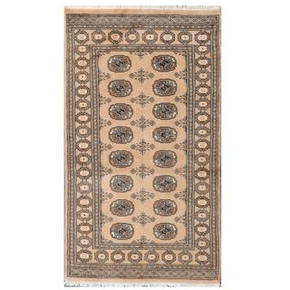 Herat Oriental Pakistani Hand-knotted Tribal Bokhara Tan/ Black Wool Rug (3'1 x 5'7)