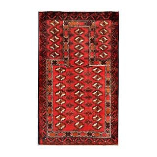 Herat Oriental Afghan Hand-knotted Tribal Balouchi Red/ Brown Wool Rug (2'9 x 4'8)