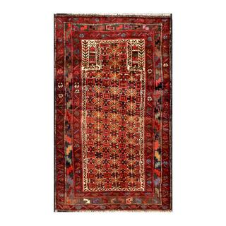 Herat Oriental Semi-antique Afghan Hand-knotted Tribal Balouchi Red/ Brown Wool Rug (2'6 x 4'4)