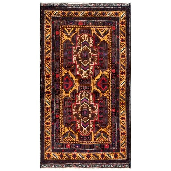 Herat Oriental Afghan Hand-knotted 1960s Semi-antique Tribal Balouchi Wool Rug (2'6 x 4'1) - 2'6 x 4'1