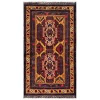 Handmade Herat Oriental Afghan 1960s Semi-antique Tribal Balouchi Wool Rug - 2'6 x 4'1 (Afghanistan)