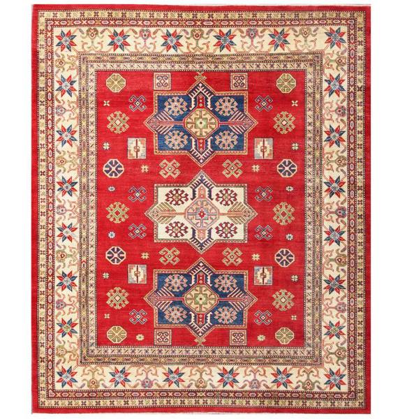 Herat Oriental Afghan Hand-knotted Kazak Wool Rug (7'11 x 9'9) - 7'11 x 9'9