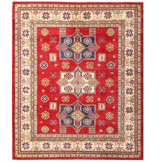 Herat Oriental Afghan Hand-knotted Kazak Red/ Ivory Wool Rug (7'11 x 9'9)