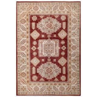 Herat Oriental Afghan Hand-knotted Kazak Burgundy/ Ivory Wool Rug (5'7 x 7'11)