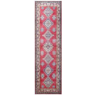 Herat Oriental Afghan Hand-knotted Kazak Red/ Ivory Wool Rug (2'11 x 10'6)