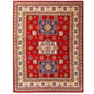 Herat Oriental Afghan Hand-knotted Kazak Red/ Ivory Wool Rug (7'10 x 10'4)