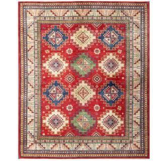 Herat Oriental Afghan Hand-knotted Kazak Red/ Ivory Wool Rug (8'1 x 9'9)