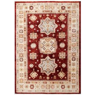 Herat Oriental Afghan Hand-knotted Kazak Burgundy/ Ivory Wool Rug (5'6 x 7'9)