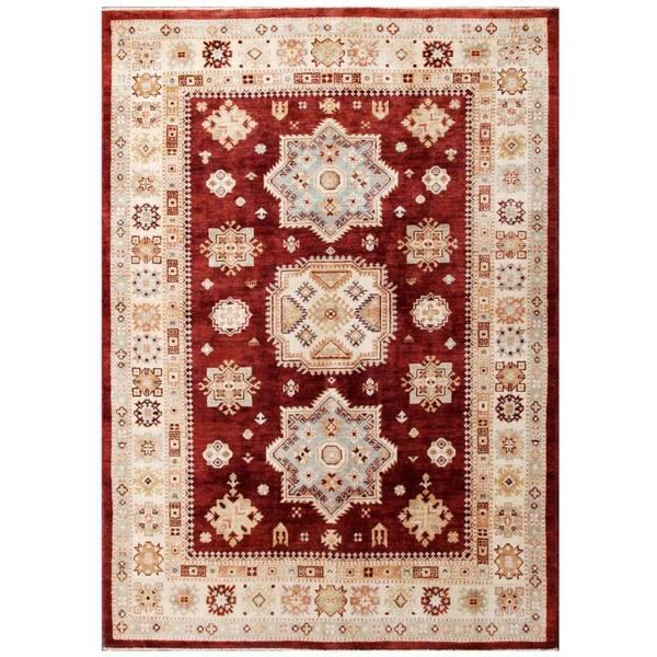 Herat Oriental Afghan Hand-knotted Kazak Wool Rug (5'6 x 7'9) - 5'6 x 7'9