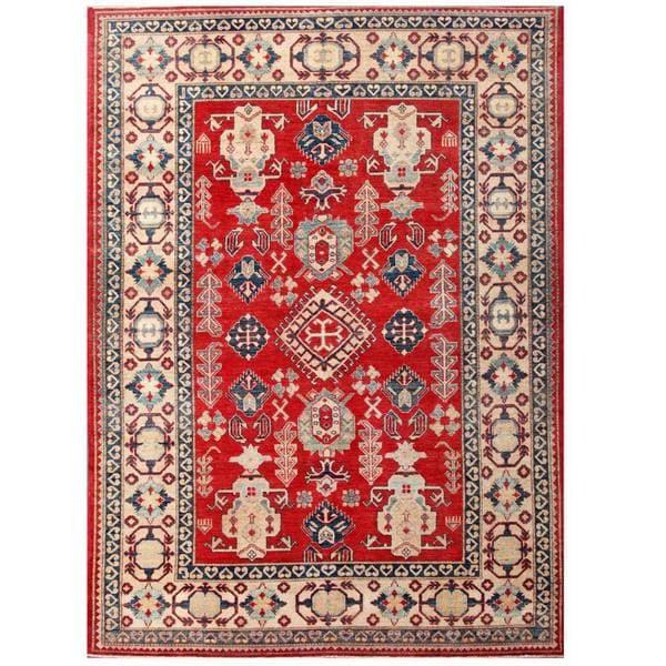 Handmade Herat Oriental Afghan Kazak Wool Rug - 7'1 x 9'10 (Afghanistan)