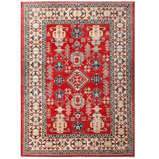 Herat Oriental Afghan Hand-knotted Kazak Red/ Ivory Wool Rug (7'1 x 9'10)