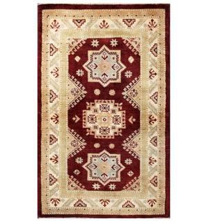 Herat Oriental Afghan Hand-knotted Kazak Burgundy/ Ivory Wool Rug (3'1 x 5')