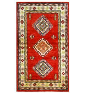 Herat Oriental Afghan Hand-knotted Kazak Red/ Ivory Wool Rug (2'10 x 4'11)