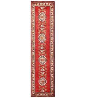 Herat Oriental Afghan Hand-knotted Kazak Red/ Ivory Wool Rug (2'5 x 10'9)