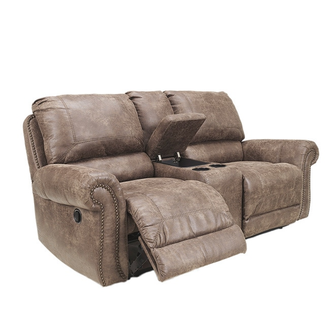 Ashley Oberson Double Reclining Power Loveseat with Conso...