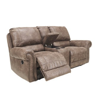 Signature Design By Ashley Oberson Double Reclining Power Loveseat With  Console