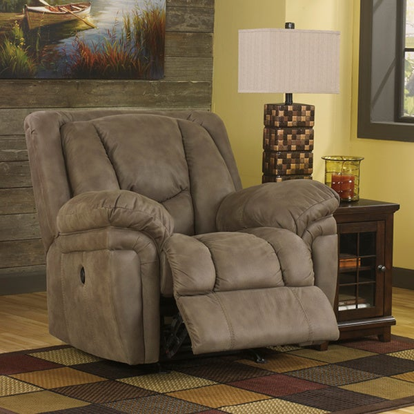 signature design by ashley blagden tan power rocker recliner free shipping today overstock. Black Bedroom Furniture Sets. Home Design Ideas