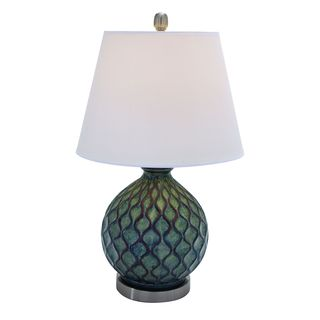 Ceramic Table Top Lamp with Coral Waves