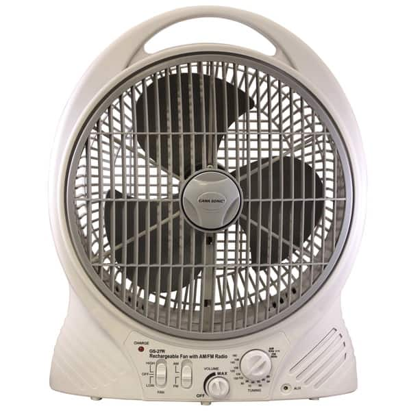 Shop Gama Sonic Rechargeable 12-inch Portable Fan with AM/FM Radio
