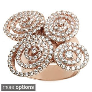 Michael Valitutti Sterling Silver or Rose Gold over Silver Cubic Zirconia Ring