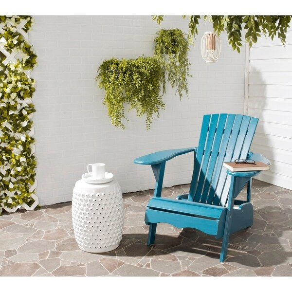 Safavieh Outdoor Living Mopani Adirondack Blue Acacia Wood Chair. Opens flyout.