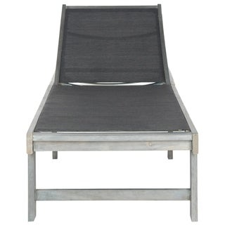 Safavieh Outdoor Living Manteca Ash Grey Acacia Wood Lounge Chair