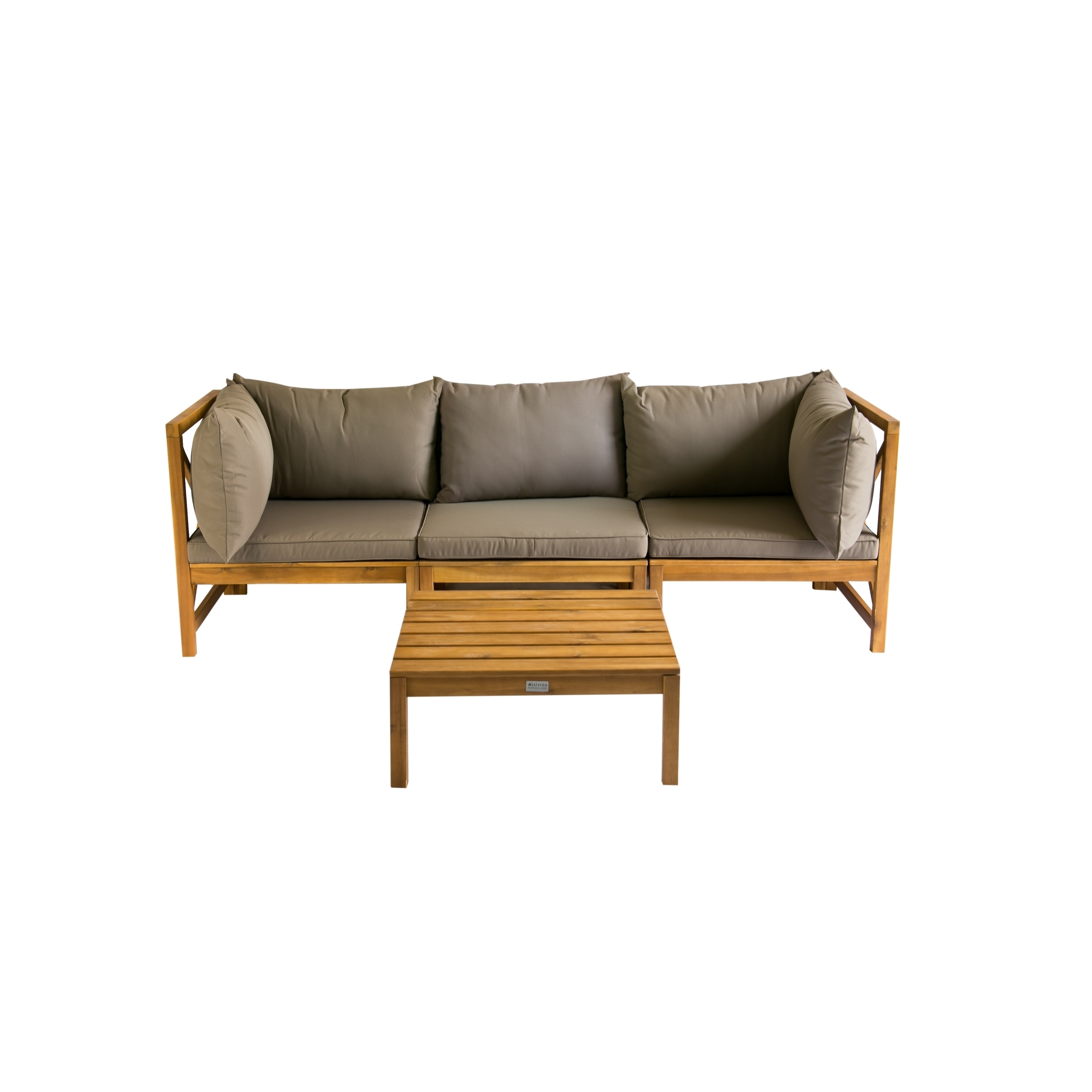 Safavieh Outdoor Living Lynwood Brown Acacia Wood 4 Piece Taupe Cushion Sectional Set On Free Shipping Today 9126348
