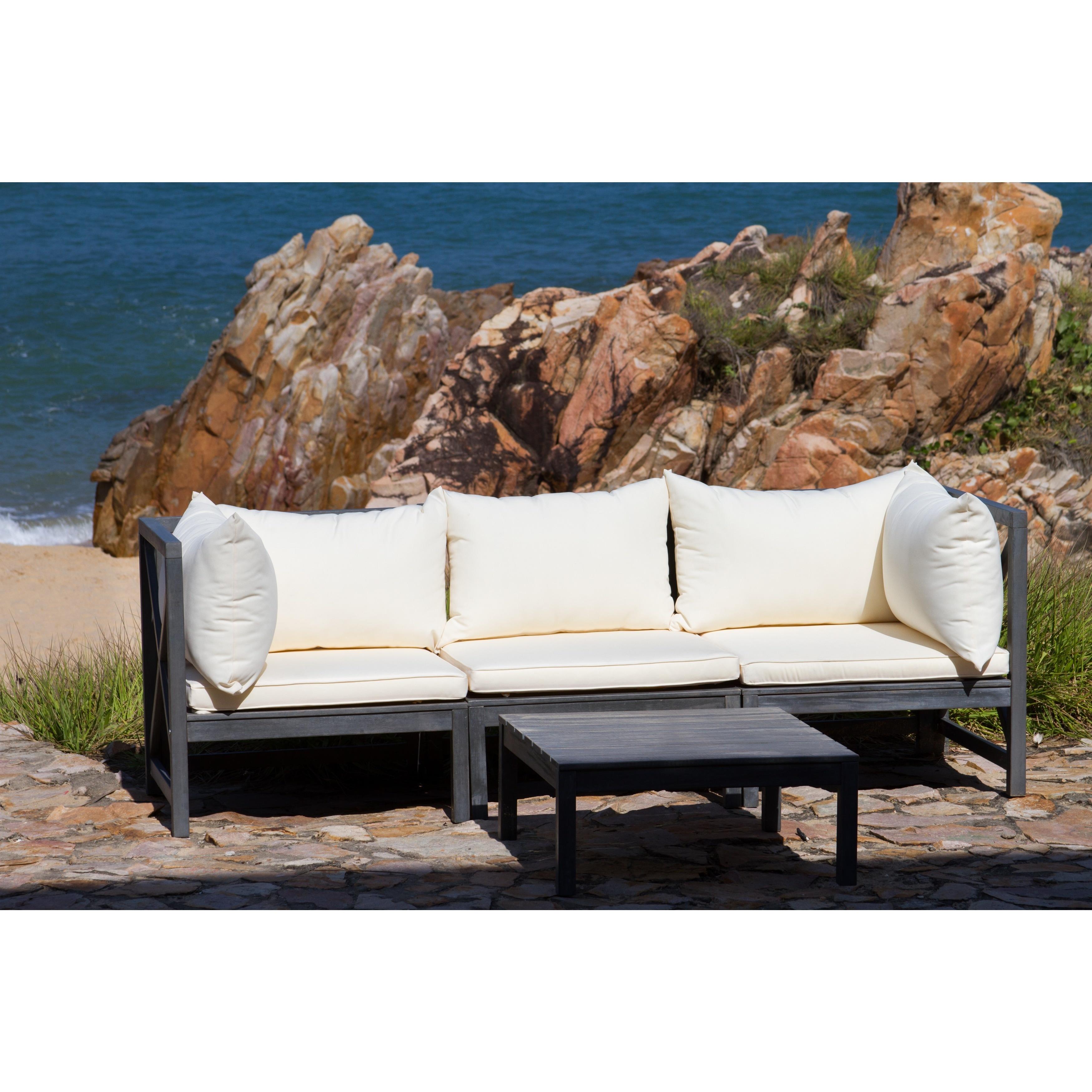 Safavieh Outdoor Living Lynwood Modular Ash Grey Acacia Wood 4-piece Beige Cushion Sectional Set - PAT6713C