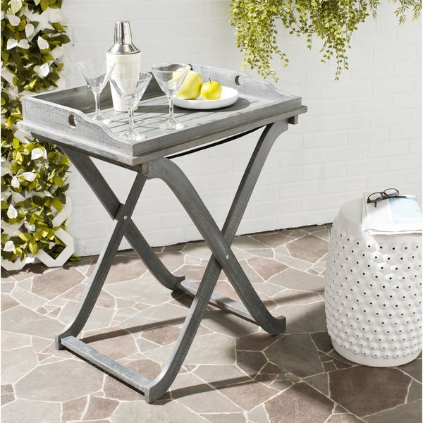 Coffee Table Tray Home Goods: Shop Safavieh Outdoor Living Covina Ash Grey Acacia Wood