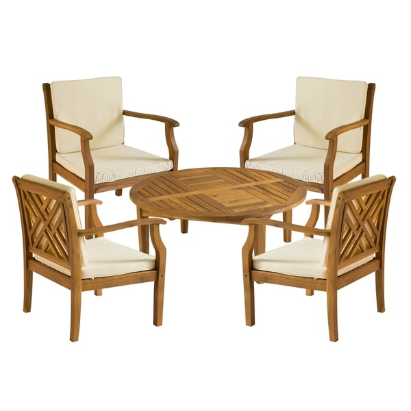 Safavieh Outdoor Living Anaheim Brown Acacia Wood 5 Piece Beige Cushion Patio Set