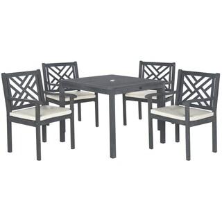 Safavieh Outdoor Living Bradbury Ash Grey Acacia Wood 5-piece Beige Cushion Dining Set