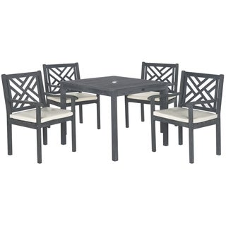 Safavieh Outdoor Living Bradbury Ash Grey Acacia Wood 5-piece Beige Cushion Dining Set