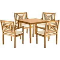 Safavieh Outdoor Living Del Mar Brown Acacia Wood 5-piece Beige Cushion Dining Set