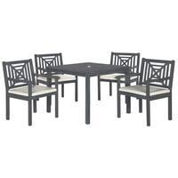 Safavieh Outdoor Living Del Mar Ash Grey Acacia Wood 5-piece Beige Cushion Dining Set