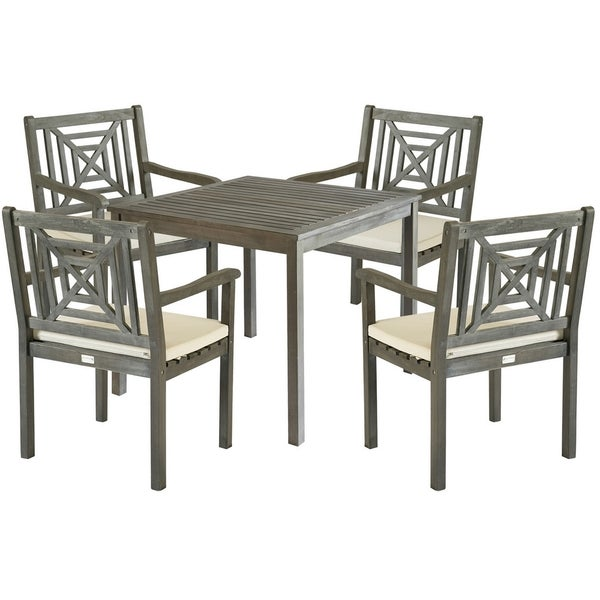 Safavieh Outdoor Living Del Mar Ash Grey Acacia Wood 5 Piece Beige Cushion  Dining Set