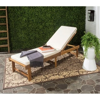 Safavieh Outdoor Living Inglewood Brown Acacia Wood Beige Cushion Lounge Chair
