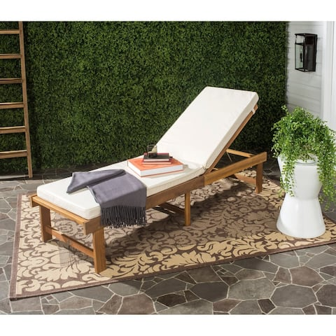 "Safavieh Outdoor Living Inglewood Brown Acacia Wood Beige Cushion Lounge Chair - 23.6"" x 75.2"" x 15.4"""