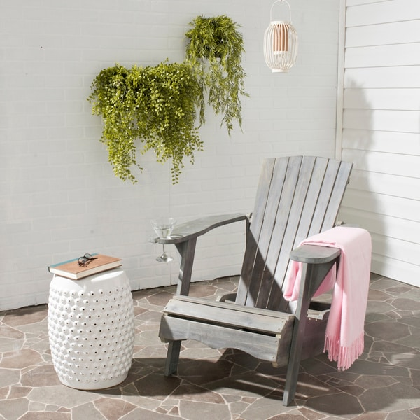 shop safavieh outdoor living vista ash grey acacia wood adirondack