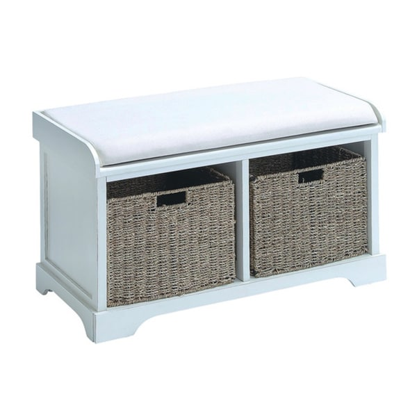 shop white wood basket bench with storage capacity free shipping today overstock 9126372. Black Bedroom Furniture Sets. Home Design Ideas