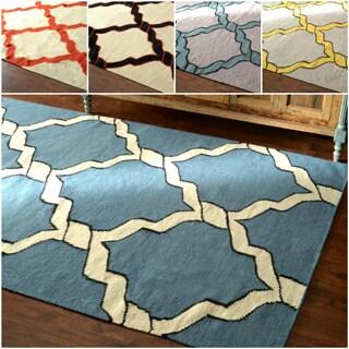 nuLOOM Flatweave Lattice Wool Gold Rug (7' 6x 9' 6)