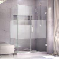 DreamLine Unidoor Plus 30 in. W x 30.375-34.375 in. D x 72 in. H Hinged Shower Enclosure, Half Frost