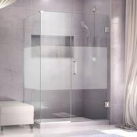 DreamLine Unidoor Plus 33 in. W x 30.375-34.375 in. D x 72 in. H Hinged Shower Enclosure, Half Frost