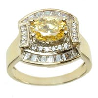Michael Valitutti Gold over Sterling Silver Yellow and White Cubic Zirconia Ring