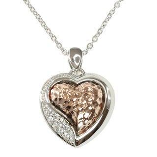 Michael Valitutti Signity Two-tone Cubic Zirconia 'Heart' Necklace