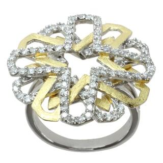 Michael Valitutti Two-tone Cubic Zirconia 'Star-burst' Ring