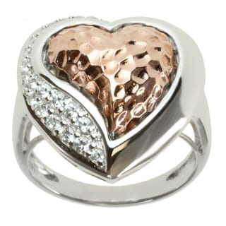 Michael Valitutti Two-tone Cubic Zirconia 'Heart' Ring
