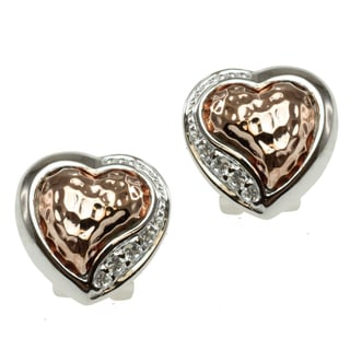 Michael Valitutti Two-tone Cubic Zirconia 'Heart' Earrings