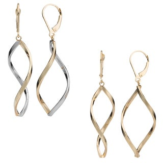 Fremada 10k Gold Twisted Marquise Leverback Earrings